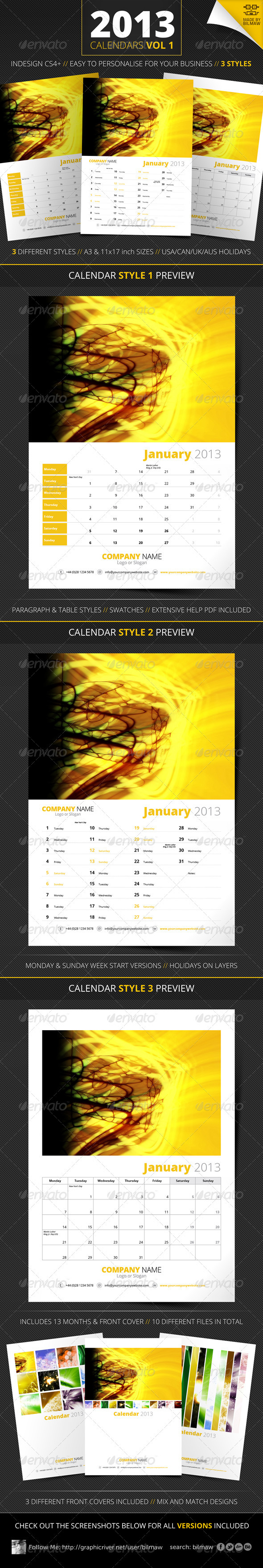 GraphicRiver 2013 Calendars Vol 1 3229977
