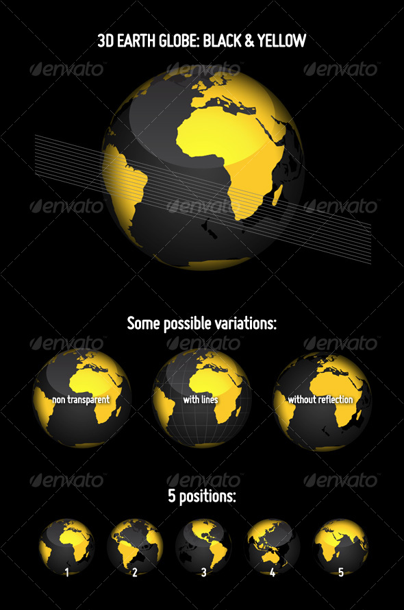 GraphicRiver 3D Earth Globe Black & Yellow 113869