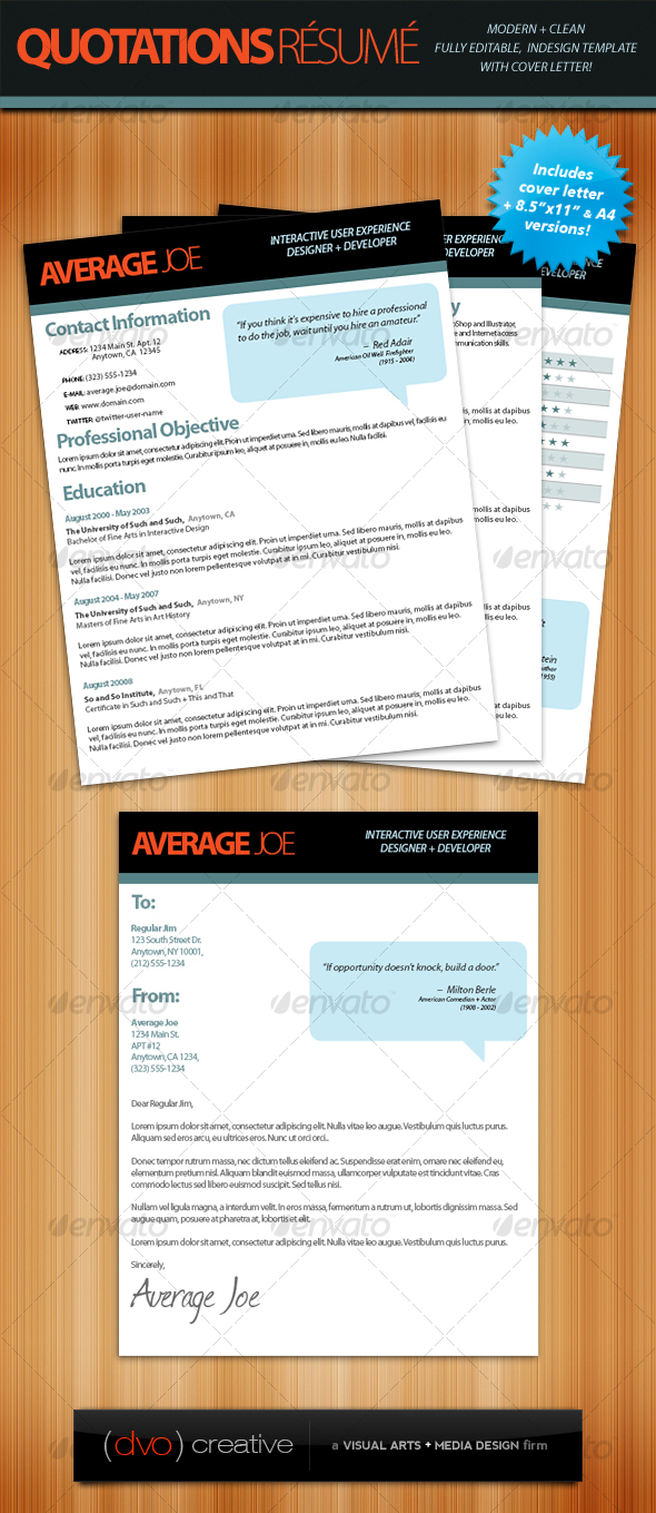 GraphicRiver Quotations Resume & Cover Letter 114054
