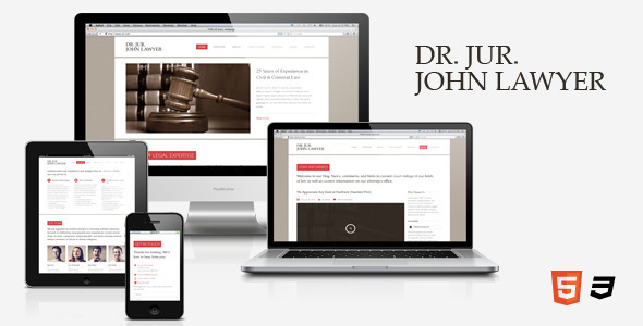 ThemeForest Dr Lawyer ЁC Responsive HTML5 One-Page Template Site Templates Corporate Business 3239198