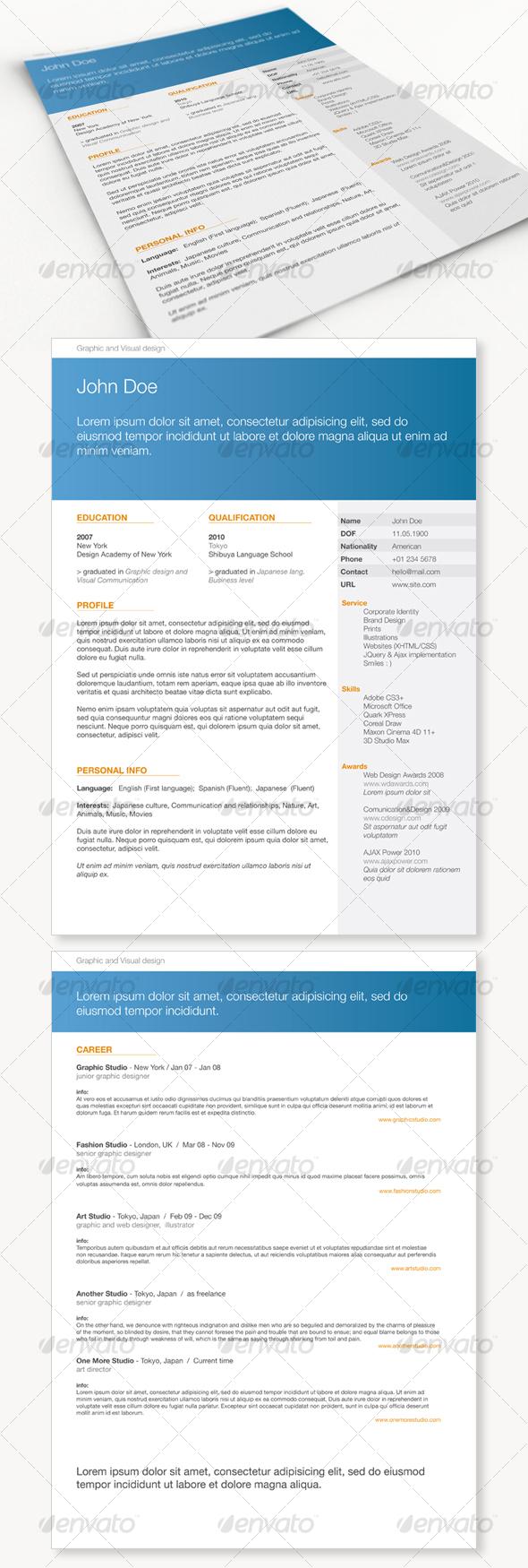 GraphicRiver Get Minimal Resume 01 106033