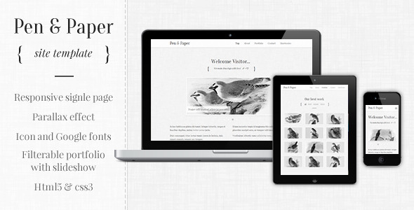 ThemeForest Pen and Paper Responsive Site Template Site Templates Creative Portfolio 3229676