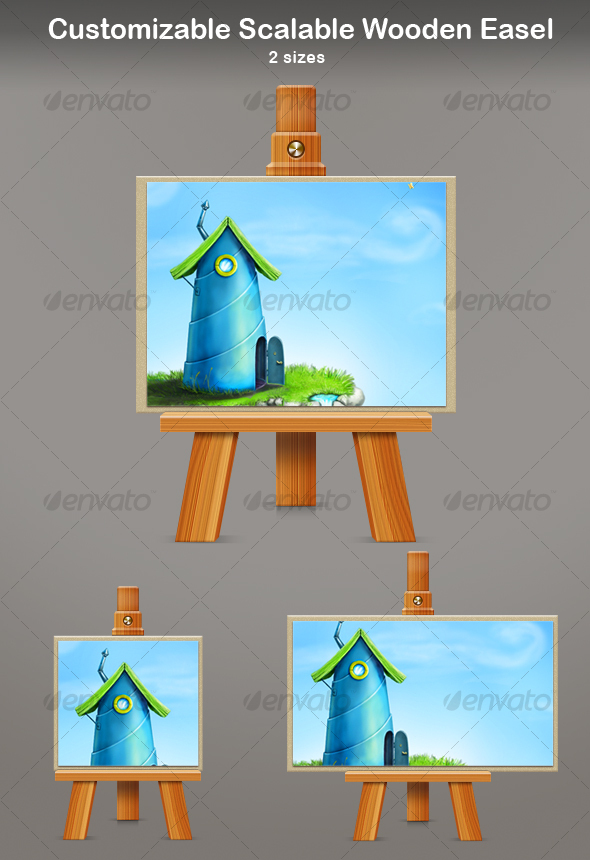 GraphicRiver Customizable Scalable Wooden Easel 114370