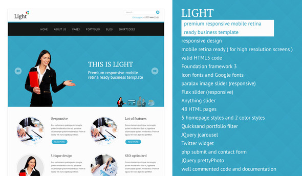 ThemeForest Light responsive mobile retina ready template 3247927