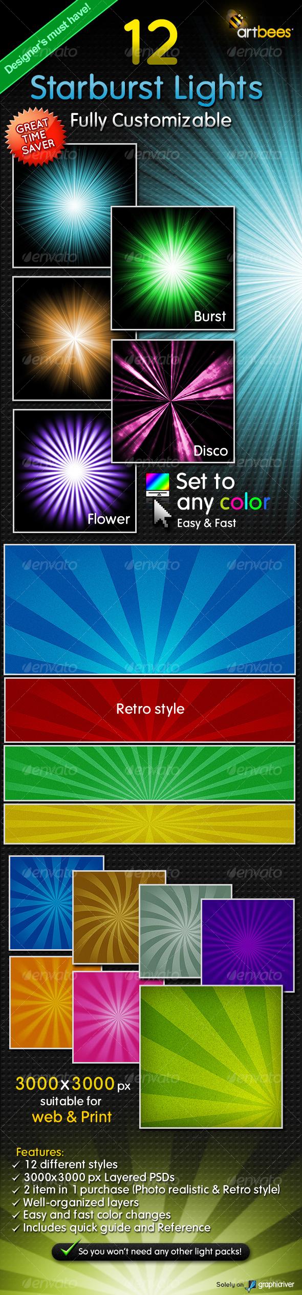 GraphicRiver 12 Starburst Light Rays Customizable 114379