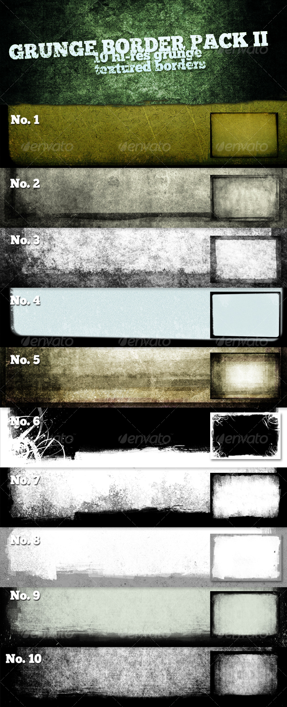 GraphicRiver 10 Hi-Res Grunge Textured Borders II 114382