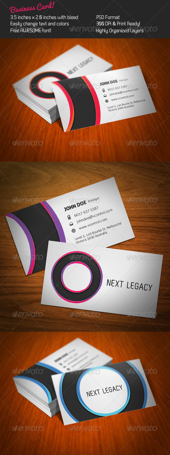 Graphic River Circles Business Card Print Templates -  Business Cards  Corporate 336424