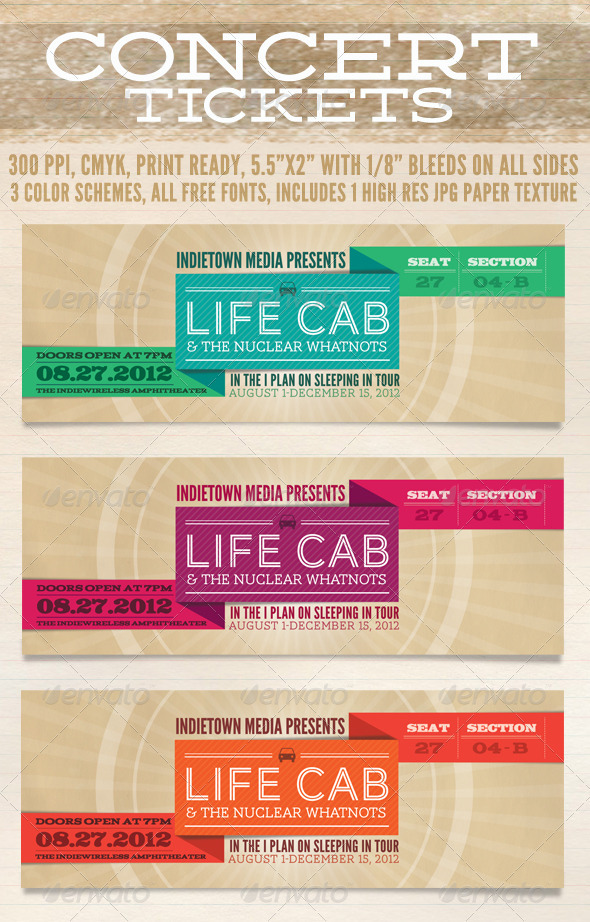 GraphicRiver Concert Tickets 336627