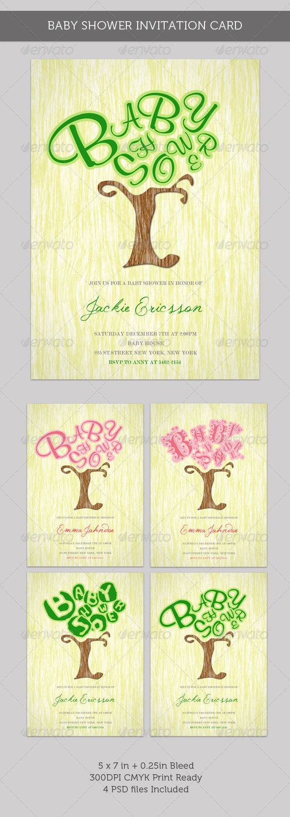 Graphic River Baby Shower Invitation Card Growing Tree Print Templates -  Cards & Invites  Family 336695