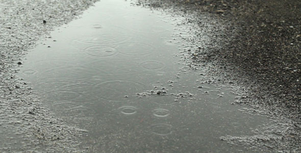 Stock Footage - Raindrops In A Puddle | VideoHive