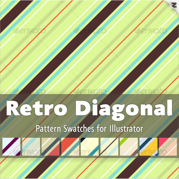 GraphicRiver Retro Diagonal Pattern Swatches 109946