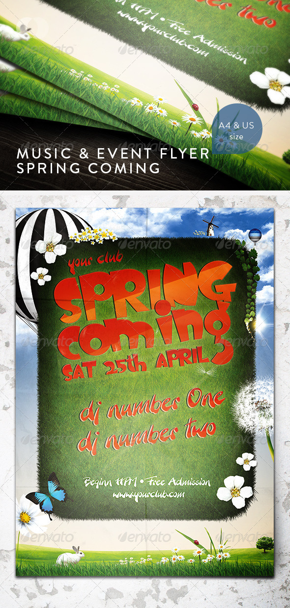 GraphicRiver Music & Event Flyer Spring Coming 161856