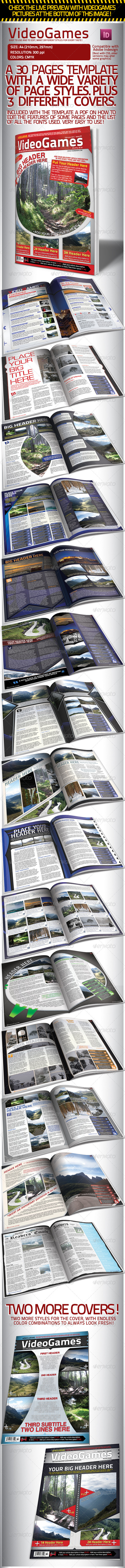 Graphic River Videogames Magazine Template with 3 Covers Print Templates -  Magazines 1528979