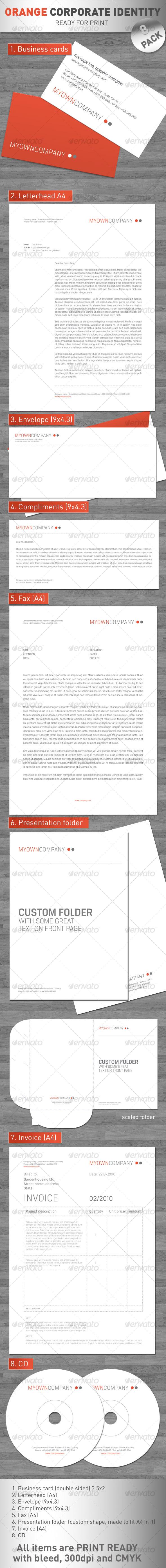 GraphicRiver Orange Coporate Identity 8 PACK 114773