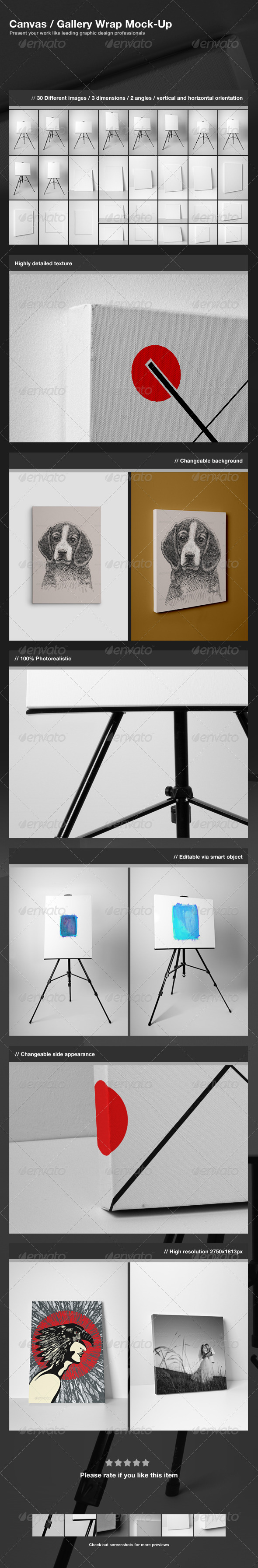 GraphicRiver Canvas Gallery Wrap Mock-Up 3264135