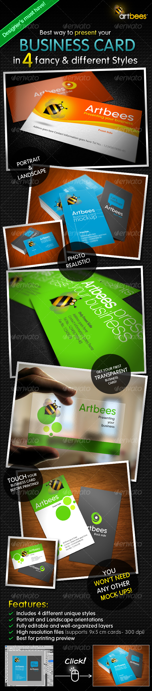 GraphicRiver Great Business Card Mock-up Pack 4 Styles 114970