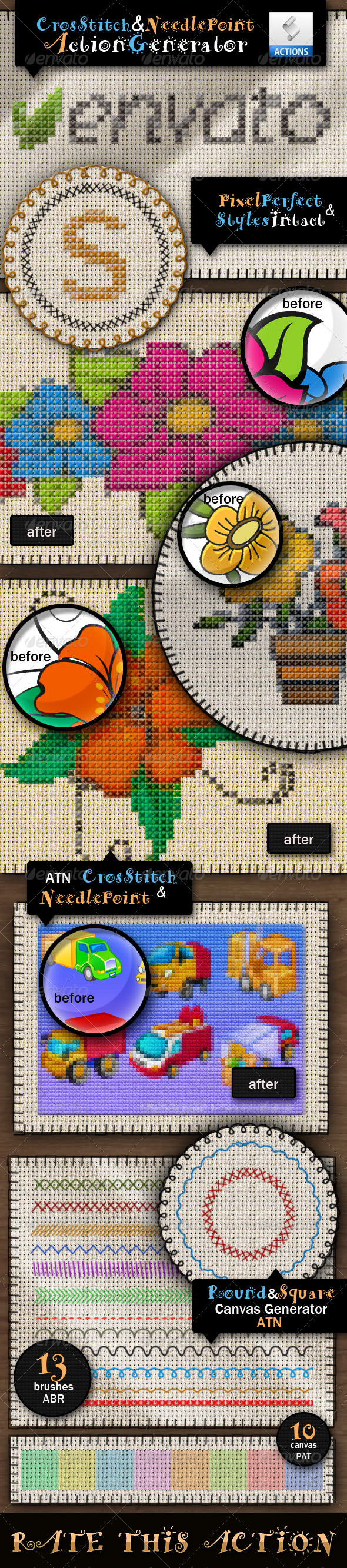GraphicRiver Cross Stitch and Needlepoint Action 3264823