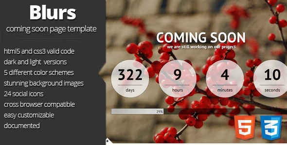 ThemeForest Blurs coming soon template Site Templates Specialty Pages Under Construction 3225705