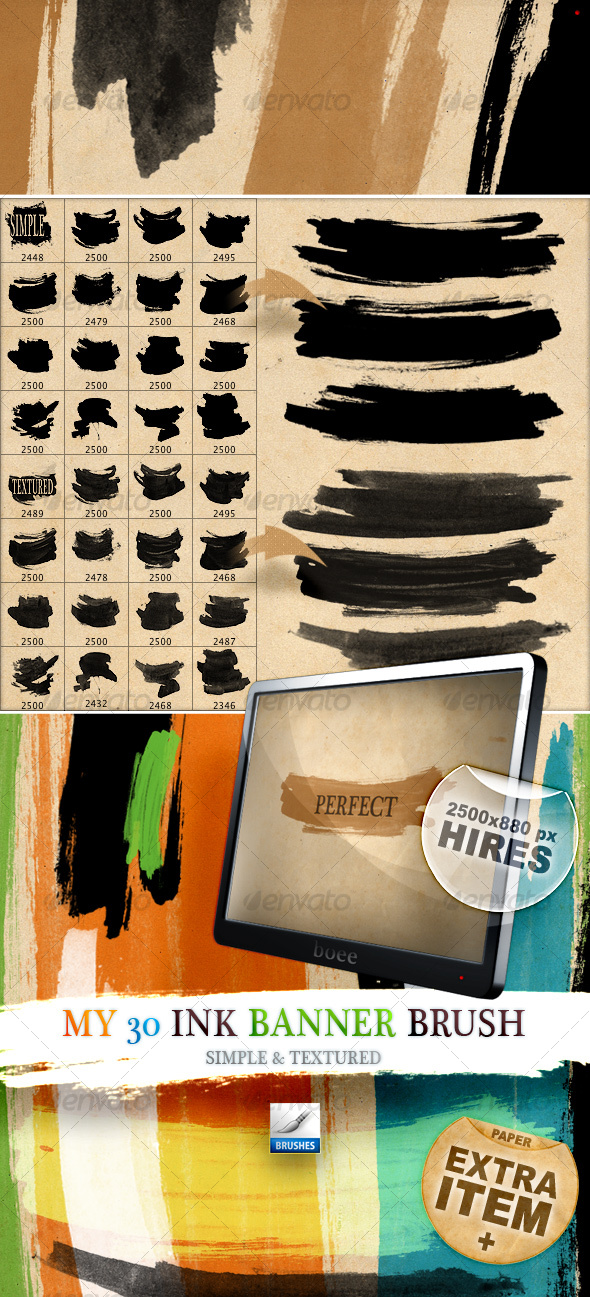 GraphicRiver My 30 lnk Banner Brush Simple & Textured 115212
