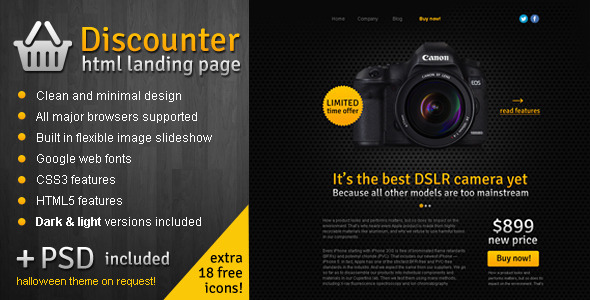 ThemeForest Discounter Product Promo Landing Page Marketing Landing Pages Retail Shopping 3251426