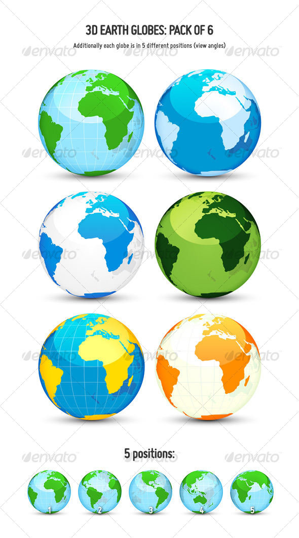 GraphicRiver 3D Earth Globes Pack of 6 114633