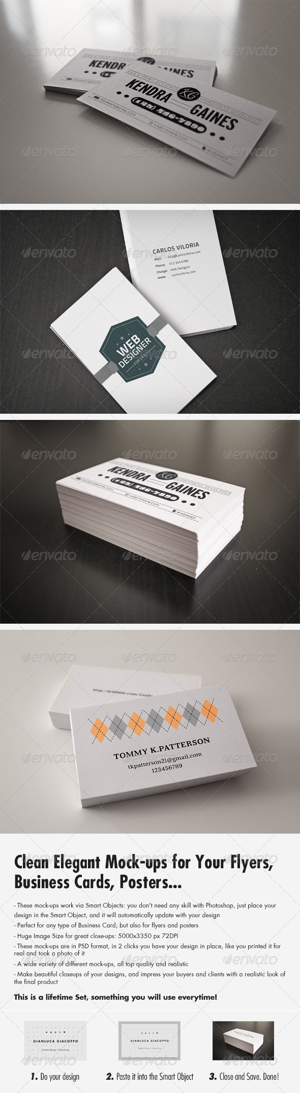 GraphicRiver Flyer Business Card Clean Realistic Mockups Set 1 3271279