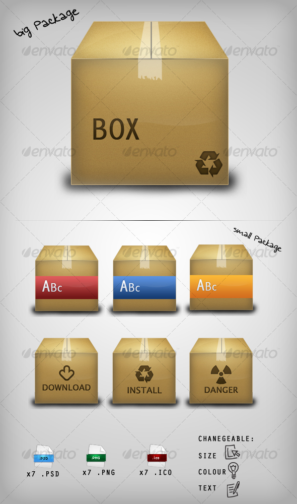 GraphicRiver Package Icon Set 115429