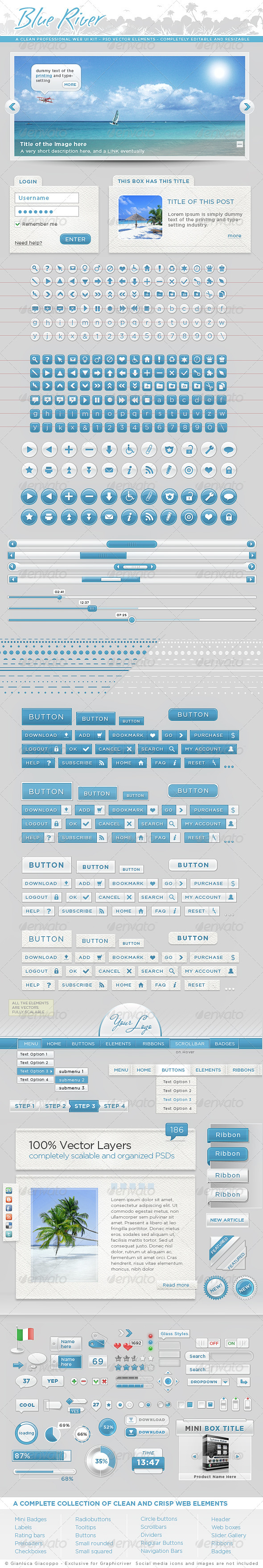 GraphicRiver Clean UI Web Kit Psd Modern Graphic Elements Pack 158473
