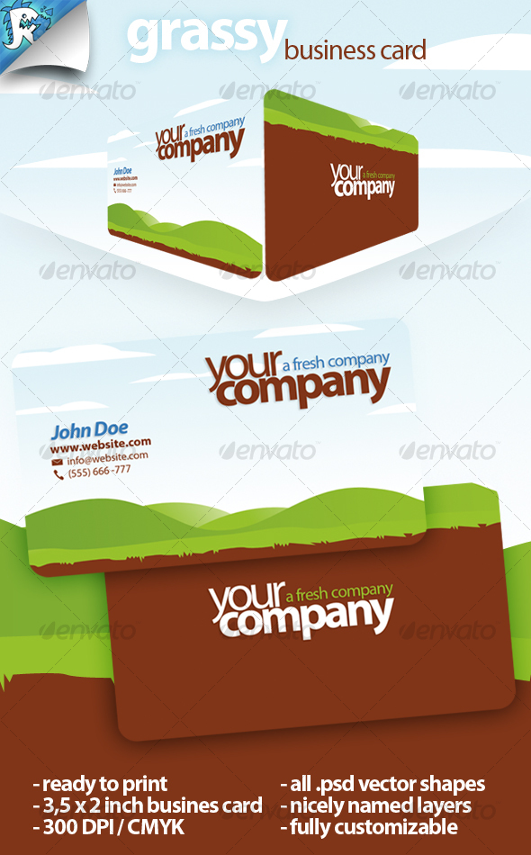 GraphicRiver Grassy Business Card Stay green 115465