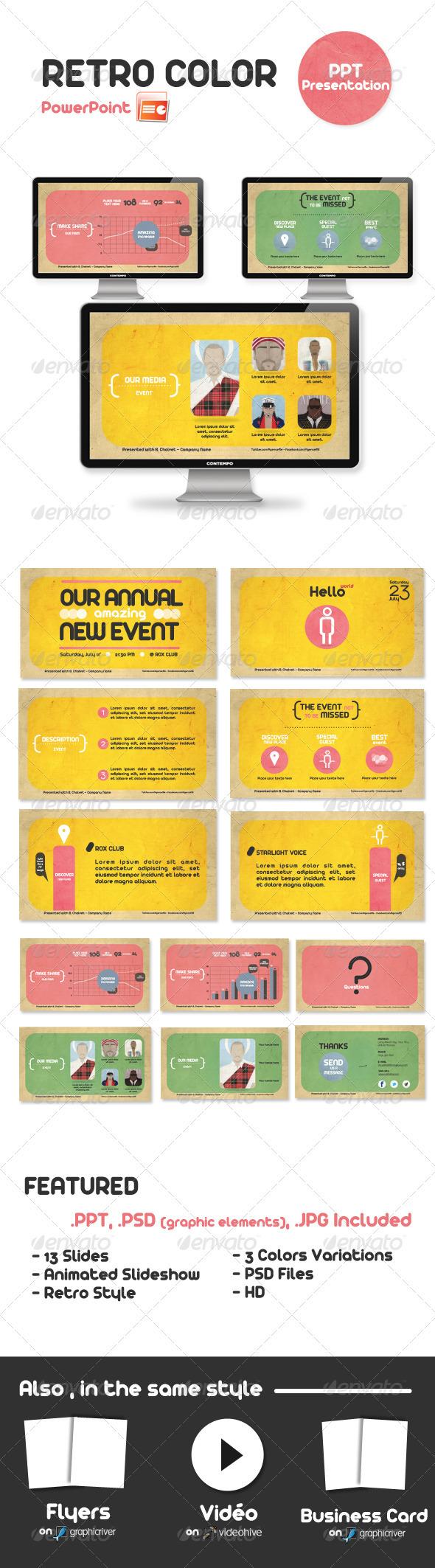 GraphicRiver Retro Color Powerpoint Presentation 340822