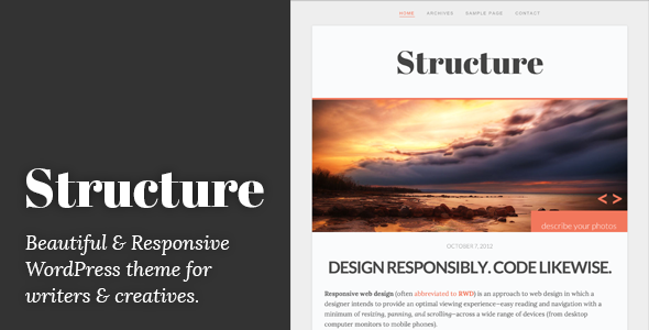 ThemeForest Structure Responsive WordPress Blog Theme WordPress Blog / Magazine Personal 3283796