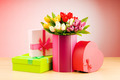 Giftbox and tulips against gradient background - PhotoDune Item for Sale