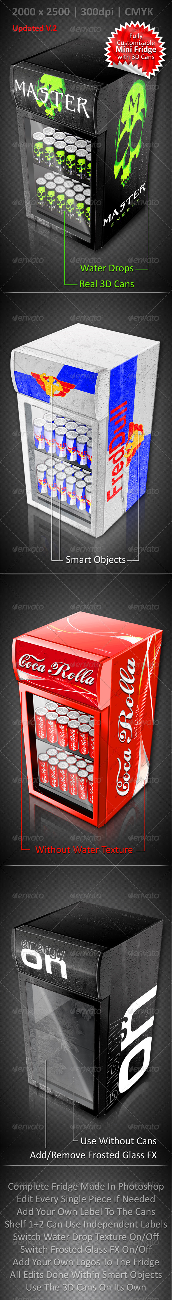 GraphicRiver Energy Drink Soda Can Mini Fridge Mockup 3147966