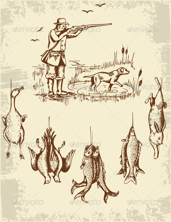 GraphicRiver Hunter and Wild Animals 3295462