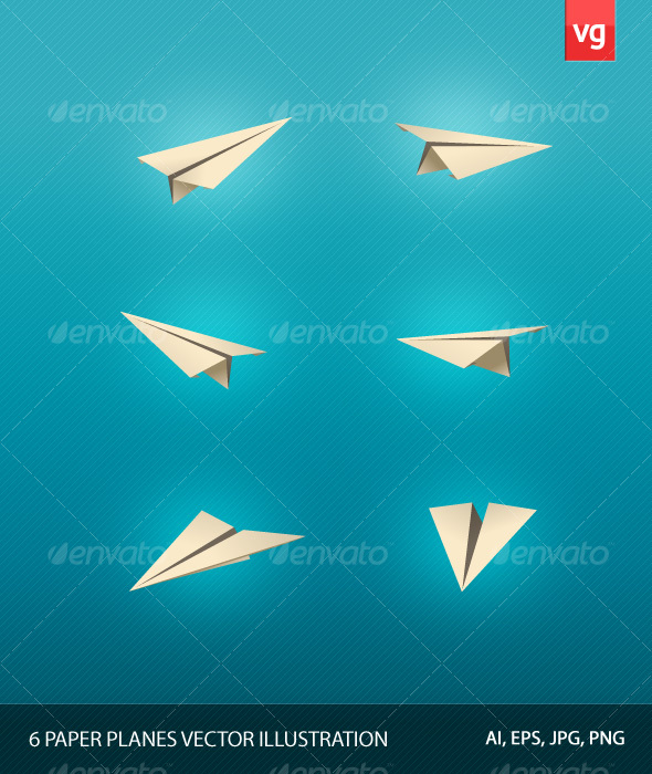 GraphicRiver 6 Paper Plane Vector Illustrations 116351
