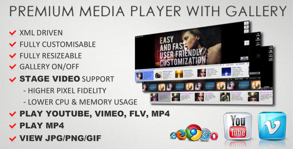 ActiveDen Customisable Youtube Vimeo FLV MP3 Image Gallery 3296737