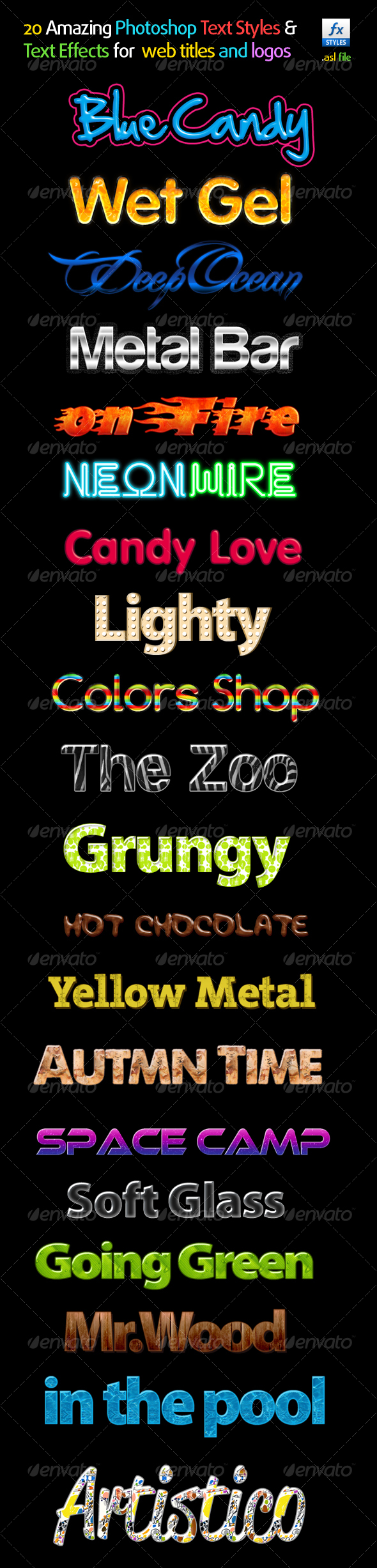 GraphicRiver 20 Amazing Photoshop Text Styles &Text Effects 116522