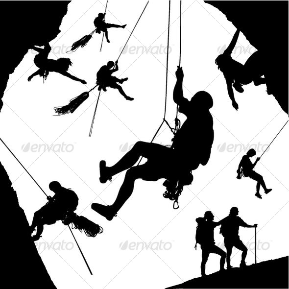 GraphicRiver Vector Climber Silhouettes 116553