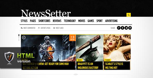 ThemeForest NewsSetter News Technology & Reviews HTML Theme Site Templates Technology Electronics 3310311