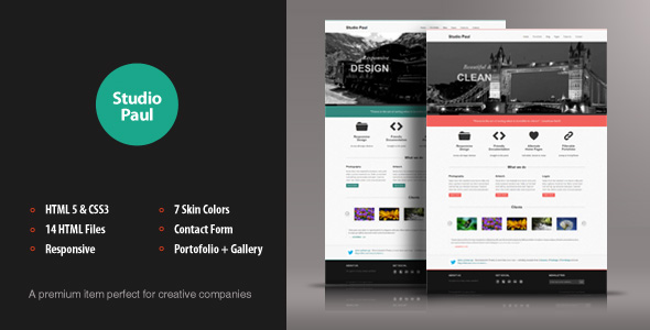 ThemeForest Studio Paul Responsive HTML Theme Site Templates Creative Portfolio 3303069