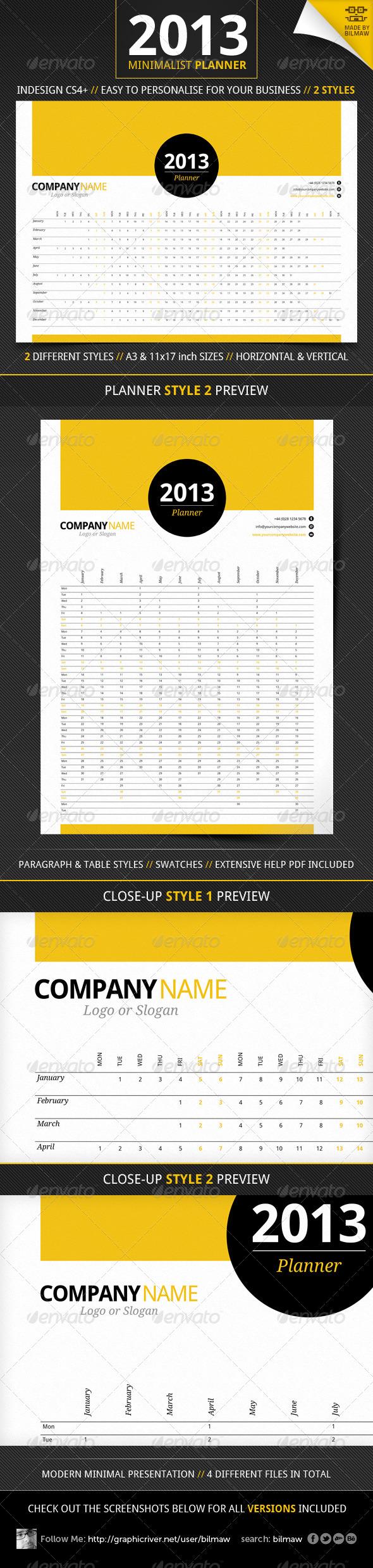 GraphicRiver Minimalist Year Planner 3315075