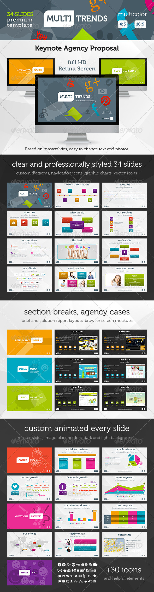GraphicRiver Multi Trends Keynote Presentation Template 3315485