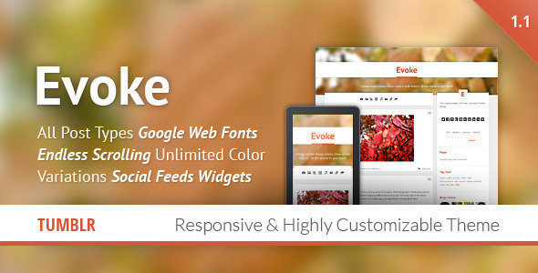 ThemeForest Evoke Responsive Tumblr Theme Blogging Tumblr 3279303