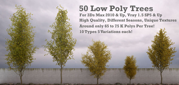 3DOcean 50 Low Poly Trees For 3Ds Max & Vray 3299588