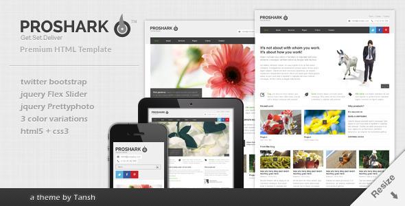 ThemeForest Proshark Responsive Corporate HTML Template Site Templates Corporate 3319665