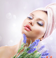 Spa Girl with Lavender Flowers. Organic Cosmetics - PhotoDune Item for Sale