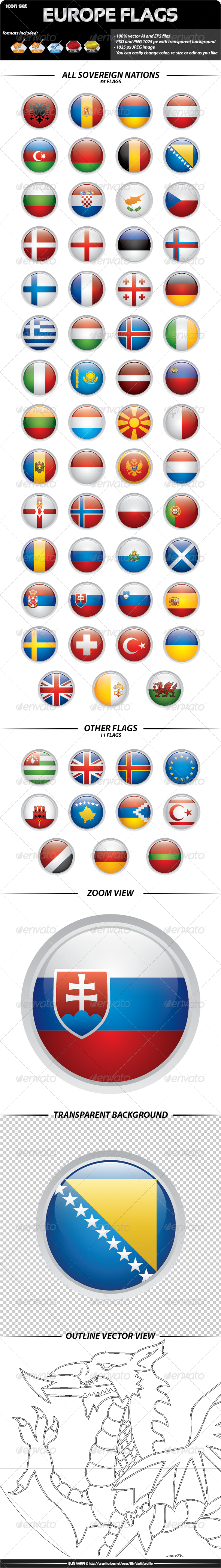 GraphicRiver Europe Flags Rounded Icons 3289141