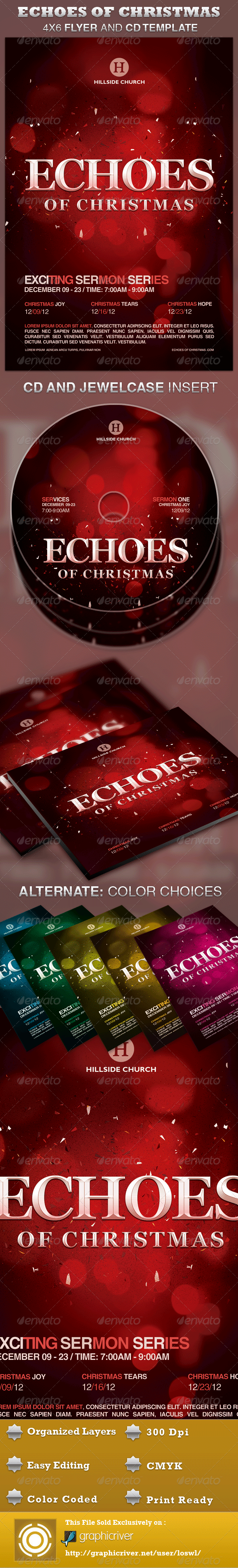 GraphicRiver Echoes of Christmas Church Flyer and CD Template 3337183
