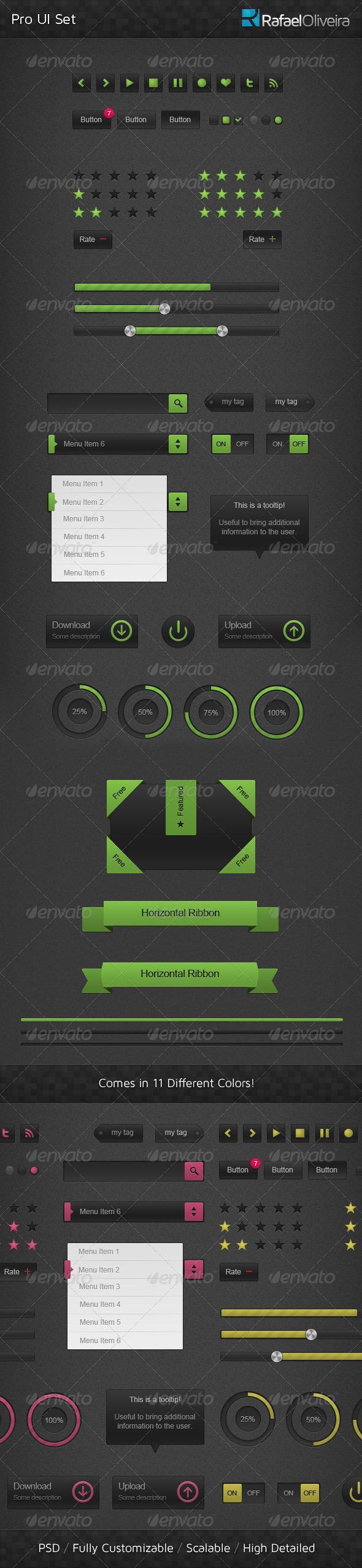 Graphic River Pro UI Set Web Elements -  User Interfaces 336711