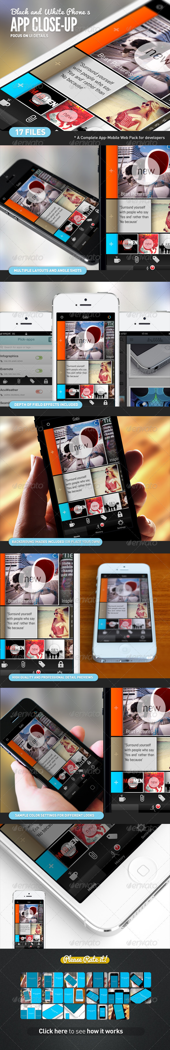 GraphicRiver App UI Close-Up White Phone 5 Mock-Up 3343505